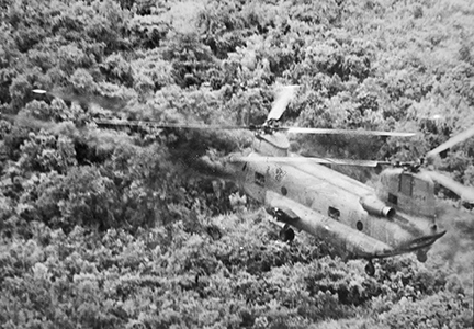 Helicopter over trees